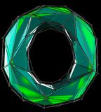 Lettera latina capitale O nel colore verde di poli stile basso isolata su fondo nero Fotografia Stock