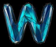 Lettera latina capitale W nel colore blu di poli stile basso isolato su fondo nero Fotografia Stock Libera da Diritti