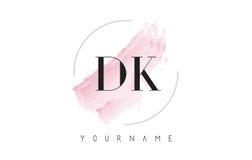 Lettera Logo Design dell'acquerello della dk D K con il modello circolare della spazzola Fotografia Stock Libera da Diritti