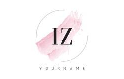 Lettera Logo Design dell'acquerello di IZ I Z con il modello circolare della spazzola Immagine Stock