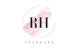 Lettera Logo Design dell'acquerello di RH R H con il modello circolare della spazzola Immagini Stock