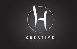 Lettera Logo Design della spazzola di H Lettere scritte a mano artistiche Logo Co Immagine Stock Libera da Diritti