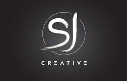 Lettera Logo Design della spazzola di SJ Logo scritto a mano artistico C delle lettere Fotografia Stock Libera da Diritti