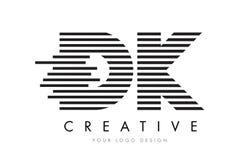 Lettera Logo Design della zebra della dk D K con le bande in bianco e nero Fotografie Stock