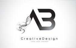 Lettera Logo Design di ab con fumo nero Fotografie Stock Libere da Diritti