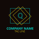 Lettera Logo Design Logo Design di Q Fotografie Stock Libere da Diritti