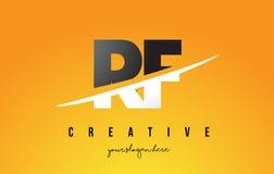 Lettera Logo Design moderno di rf R F con fondo giallo e Swoo Immagini Stock