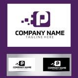 Lettera Logo Design Vector Business Card di P Immagini Stock