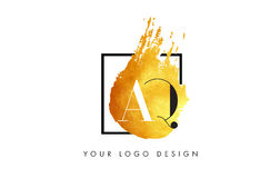 Lettera Logo Painted Brush Texture Strokes dell'oro di AQ Immagini Stock