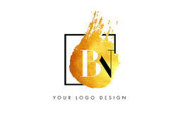 Lettera Logo Painted Brush Texture Strokes dell'oro di BN Immagine Stock