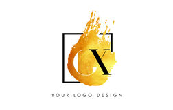 Lettera Logo Painted Brush Texture Strokes dell'oro di GX Immagini Stock
