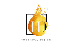 Lettera Logo Painted Brush Texture Strokes dell'oro di HD Immagini Stock