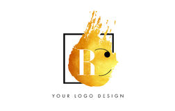 Lettera Logo Painted Brush Texture Strokes dell'oro di RC Fotografia Stock