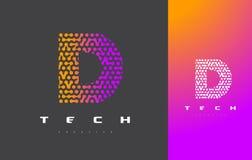 Lettera Logo Technology di D Dots Letter Design Vector collegato Immagine Stock