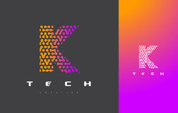 Lettera Logo Technology di K Dots Letter Design Vector collegato Fotografie Stock