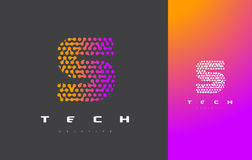Lettera Logo Technology di S Dots Letter Design Vector collegato Immagine Stock