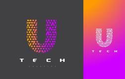 Lettera Logo Technology di U Dots Letter Design Vector collegato Immagine Stock