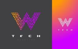Lettera Logo Technology di W Dots Letter Design Vector collegato Fotografie Stock Libere da Diritti