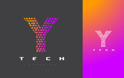 Lettera Logo Technology di Y Dots Letter Design Vector collegato Fotografie Stock