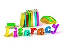 Lettera luminosa del volume dell'iscrizione di alfabetizzazione Immagine Stock