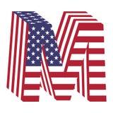 Lettera m. di alfabeto latino della bandiera 3d di U.S.A. Fonte strutturata Fotografia Stock