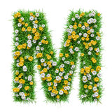 Lettera m. Of Green Grass e fiori Fotografia Stock