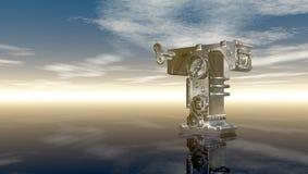 Lettera a macchina t sotto il cielo nuvoloso Fotografia Stock Libera da Diritti