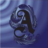 Lettera maiuscola perfetta dalla fonte gotica I riccioli, pianta, hanno stilizzato, lettere, lettera, colore, blu, il nero, gotic Fotografia Stock Libera da Diritti