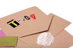 Lettera minacciosa della ricina fotografia stock