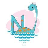 Lettera N con il Nessie divertente Fotografia Stock