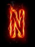 Lettera N del fuoco Fotografia Stock