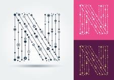 Lettera N di vettore Carattere isolato e editabile nello stile di illustrazione vettoriale