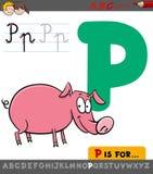 Lettera p con il maiale del fumetto Fotografie Stock
