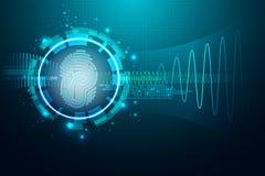 Lettera P dell'impronta digitale Concetto di sistema di sicurezza illustrazione vettoriale