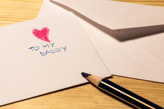 Lettera per la festa del papà Fotografie Stock Libere da Diritti