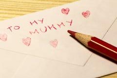 Lettera per la festa della mamma Fotografia Stock Libera da Diritti