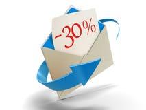 Lettera -30% (percorso di ritaglio incluso) Fotografia Stock