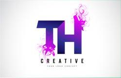 Lettera porpora Logo Design del TH T H con lo scorrimento liquido di effetto Fotografia Stock Libera da Diritti
