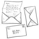 Lettera, posta, o illustrazione del contatto Fotografie Stock Libere da Diritti