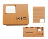 Lettera, posta, pacchetto, cartone, illustrazione Fotografia Stock Libera da Diritti