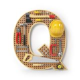 Lettera Q Alfabeto dagli strumenti sul pegboard del metallo isolati Fotografia Stock Libera da Diritti
