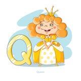 Lettera Q con la regina divertente Fotografie Stock Libere da Diritti