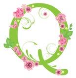 Lettera Q con le rose Fotografie Stock Libere da Diritti