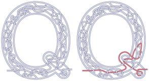 Lettera Q del labirinto Immagine Stock