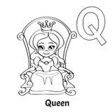 Lettera Q, pagina di coloritura di alfabeto di vettore regina Illustrazione Vettoriale