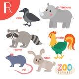 Lettera R Animali svegli Animali divertenti del fumetto nel vettore ABC fischia Immagini Stock Libere da Diritti