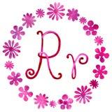 Lettera R di alfabeto inglese, isolata su un fondo bianco, nel telaio elegante, scritto a mano Illustrazione dell'acquerello per illustrazione vettoriale