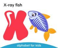 Lettera rosa X e pesce viola dei raggi x con le alette gialle immagine stock