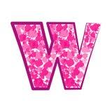 Lettera rosa inglese W su un fondo bianco Vettore Fotografia Stock Libera da Diritti