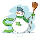 Lettera S con il pupazzo di neve divertente Fotografie Stock